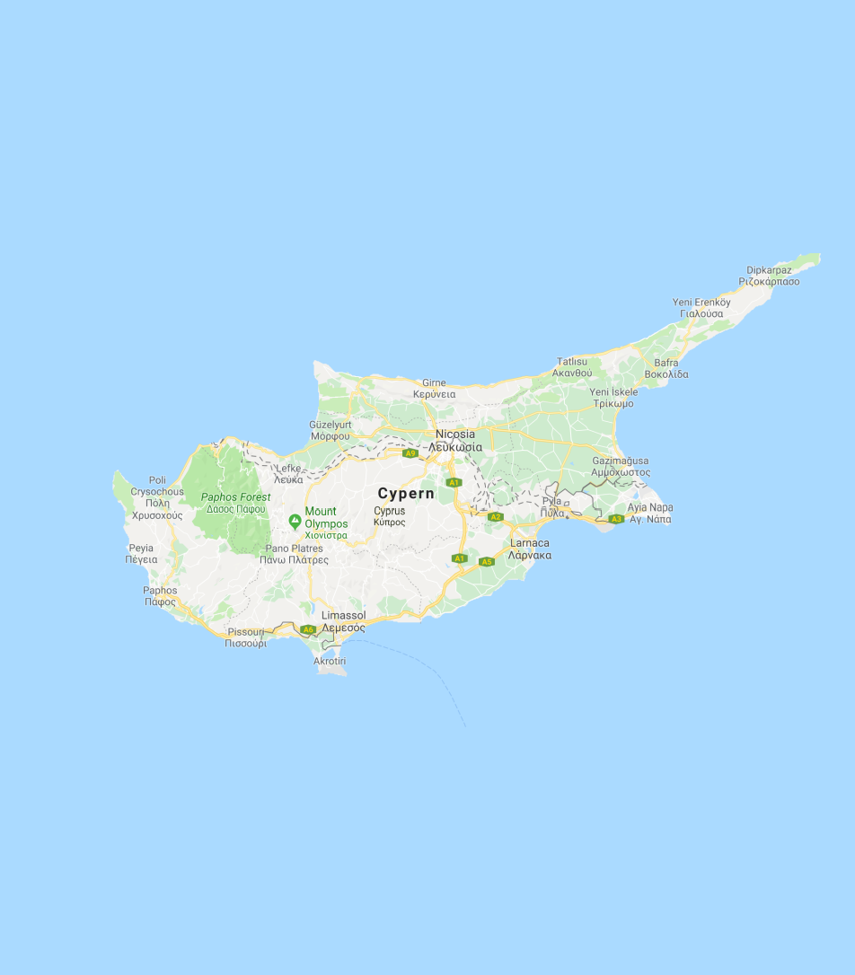 A Map Of The Island Of Cyprus
