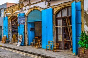 Sidestreet Shops With Blue Doors In Larnaca